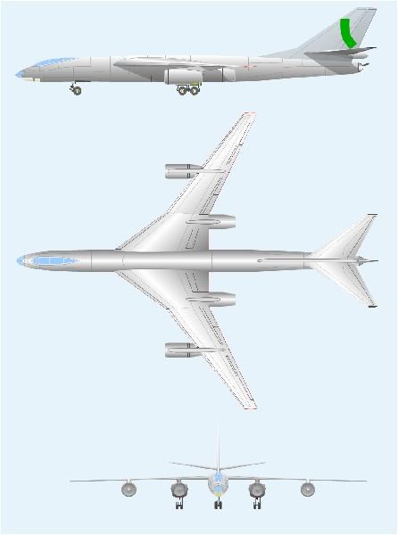 4-ёх двигательная компоновка с двумя двигателями перед крылом и двумя позади